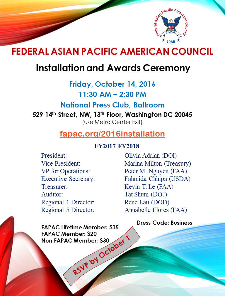 FAPAC - 2016 Officer's Installation and Awards Ceremony
