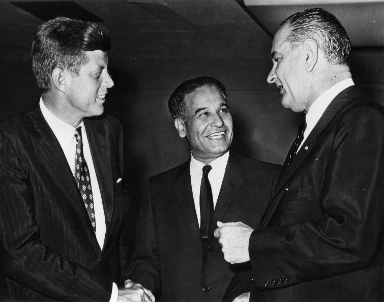 John F Kennedy (left), Dalip Singh Saund (center), Lyndon B Johnson (right), 1958 Photo courtesy of Eric Saund & Smithsonian